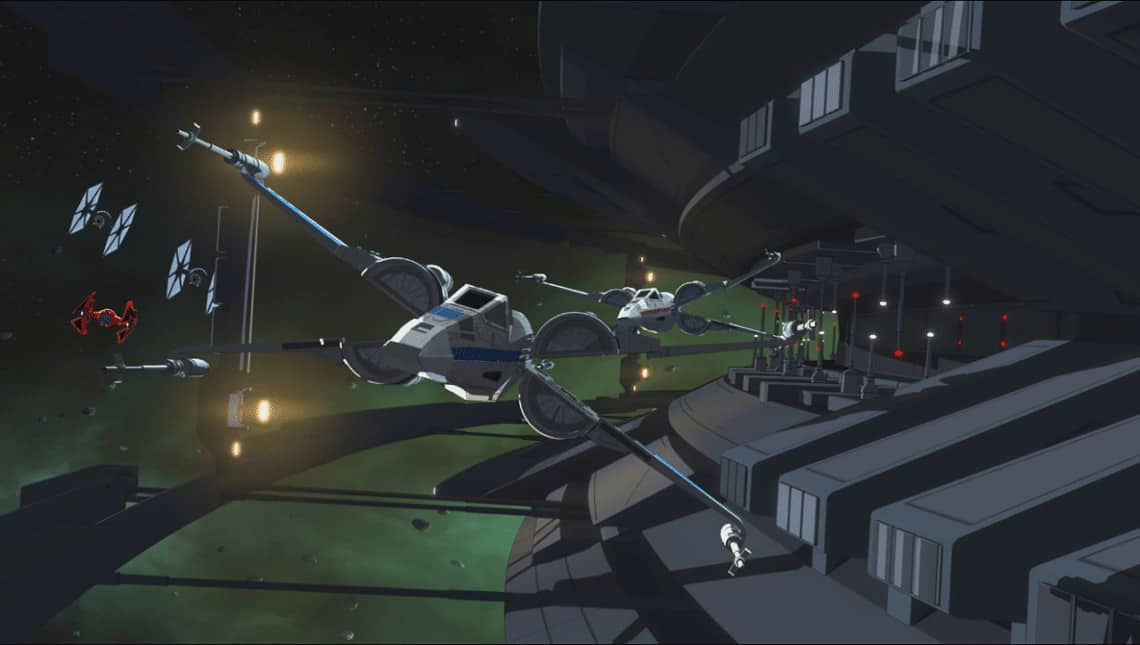 Star Wars Resistance Kaz and Poe try to outrun First Order pilots