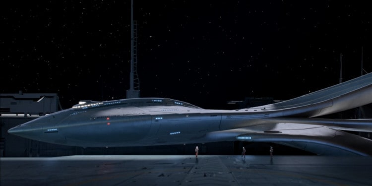 The Orville leaving Earth dock (Image Credits: 20th Century Fox Television)