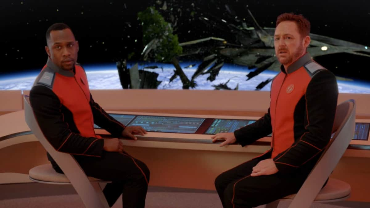The Orville's helmsmen asking about Arbor Day (Image Credits: 20th Century Fox Television)