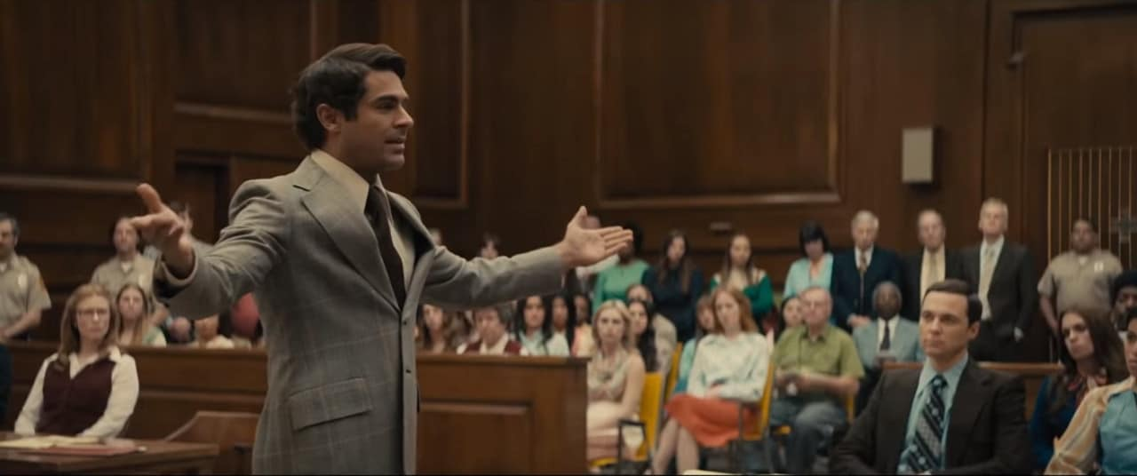 Zac Efron portrays a grandstanding Bundy in court (Image Credits: Voltage Pictures)