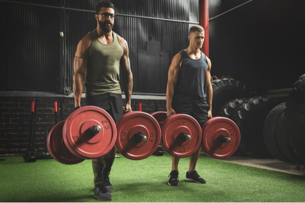 Farmers walk with dumbbells