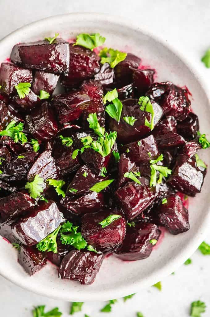 Beets sweetened with a balsamic glaze
