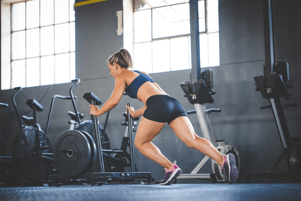 Sled pushes are a fast way to build up power in your lower body and burn calories fast.